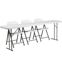 18'' x 96'' Plastic Folding Training Table with 3 White Plastic Folding Chairs