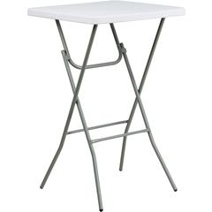 Flash Furniture 27'' Square Granite White Plastic Bar Height Folding Table
