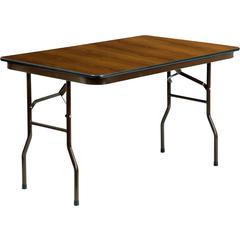 30'' x 48'' Rectangular Walnut High Pressure Laminate Folding Banquet Table