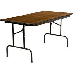 30'' x 60'' Rectangular Walnut Melamine Laminate Folding Banquet Table