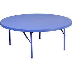 48'' Round Kid's Blue Plastic Folding Table
