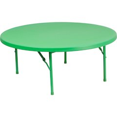 48'' Round Kid's Green Plastic Folding Table