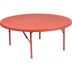 48'' Round Kid's Red Plastic Folding Table