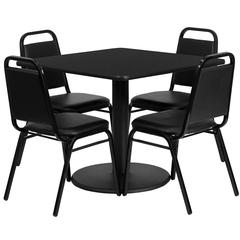 Flash Furniture 36'' Square Black Laminate Table Set with 4 Black Trapezoidal Back Banquet Chairs