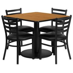 36'' Square Natural Laminate Table Set with 4 Ladder Back Metal Chairs - Black Vinyl Seat