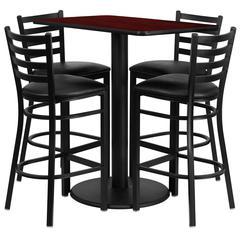 Flash Furniture 24'' x 42'' Rectangular Mahogany Laminate Table Set with 4 Ladder Back Metal Barstools - Black Vinyl Seat