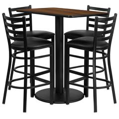 Flash Furniture 24'' x 42'' Rectangular Walnut Laminate Table Set with 4 Ladder Back Metal Barstools - Black Vinyl Seat