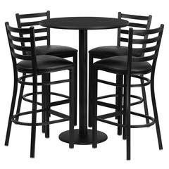 Flash Furniture 30'' Round Black Laminate Table Set with 4 Ladder Back Metal Barstools - Black Vinyl Seat