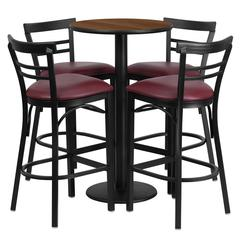 Flash Furniture 24'' Round Walnut Laminate Table Set with 4 Ladder Back Metal Barstools - Burgundy Vinyl Seat