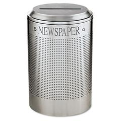 Silhouette Paper Recycling Receptacle, Round, Steel, 26 gal, Silver Metallic