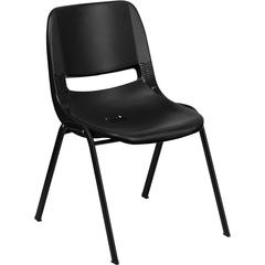 HERCULES Series 440 lb. Capacity Black Ergonomic Shell Stack Chair with Black Frame and 12'' Seat Height