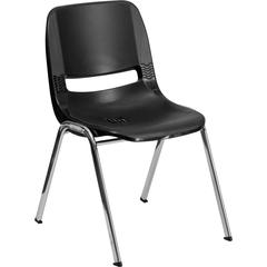 HERCULES Series 880 lb. Capacity Black Ergonomic Shell Stack Chair with Chrome Frame and 18'' Seat Height