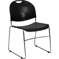 Flash Furniture HERCULES Series 880 lb. Capacity Black Ultra Compact Stack Chair with Chrome Frame