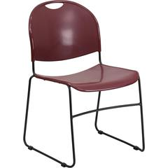 Flash Furniture HERCULES Series 880 lb. Capacity Burgundy Ultra Compact Stack Chair with Black Frame