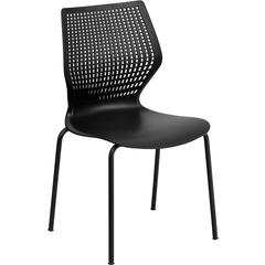 HERCULES Series 770 lb. Capacity Designer Black Stack Chair with Black Frame