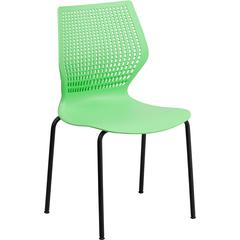 HERCULES Series 770 lb. Capacity Designer Green Stack Chair with Black Frame