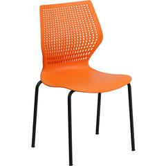 Flash Furniture HERCULES Series 770 lb. Capacity Designer Orange Stack Chair with Black Frame