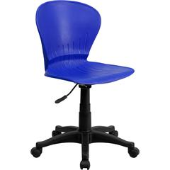 Mid-Back Blue Plastic Swivel Task Chair