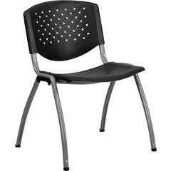 Flash Furniture HERCULES Series 880 lb. Capacity Black Plastic Stack Chair with Titanium Frame