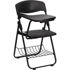 Flash Furniture Black Plastic Chair with Right Handed Tablet Arm and Book Basket