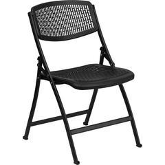 HERCULES Series 990 lb. Black Designer Comfort Molded Folding Chair