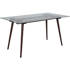 Meriden 31.5'' x 55'' Solid Walnut Wood Table with Clear Glass Top