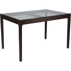 Everett 31.5'' x 47.5'' Solid Espresso Wood Table with Clear Glass Top