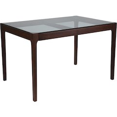 Everett 31.5'' x 47.5'' Solid Walnut Wood Table with Clear Glass Top