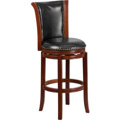 30'' High Dark Chestnut Wood Barstool with Black Leather Swivel Seat