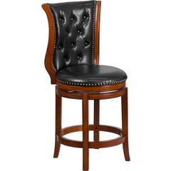 26'' High Brandy Wood Counter Height Stool with Black Leather Swivel Seat