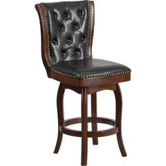 26'' High Cappuccino Wood Counter Height Stool with Black Leather Swivel Seat