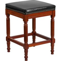 26'' High Backless Light Cherry Wood Counter Height Stool with Black Leather Seat
