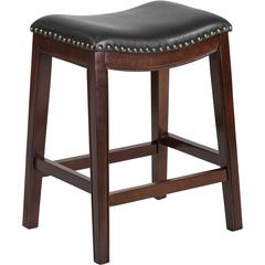 26'' High Backless Cappuccino Wood Counter Height Stool with Black Leather Seat