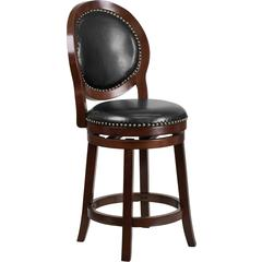 26'' High Cappuccino Counter Height Wood Stool with Black Leather Swivel Seat