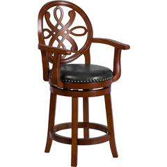 26'' High Brandy Wood Counter Height Stool with Arms and Black Leather Swivel Seat