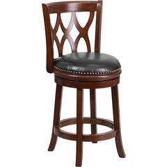 24'' Cherry Wood Counter Height Stool with Black Leather Swivel Seat