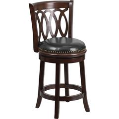 24'' Cappuccino Wood Counter Height Stool with Black Leather Swivel Seat