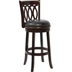 Flash Furniture 29'' Cappuccino Wood Bar Stool with Black Leather Swivel Seat
