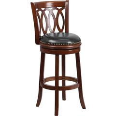 Flash Furniture 29'' Cherry Wood Bar Stool with Black Leather Swivel Seat