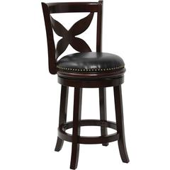 Flash Furniture 24'' Cappuccino Wood Counter Height Stool with Black Leather Swivel Seat