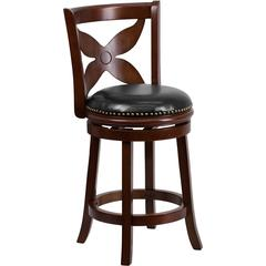 Flash Furniture 24'' Cherry Wood Counter Height Stool with Black Leather Swivel Seat