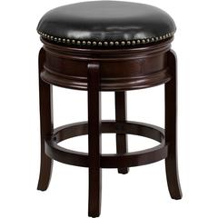24'' High Backless Cappuccino Wood Counter Height Stool with Black Leather Swivel Seat
