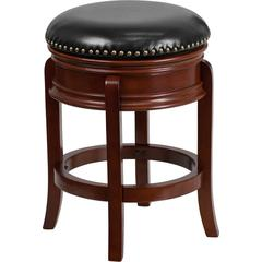 24'' High Backless Light Cherry Wood Counter Height Stool with Black Leather Swivel Seat