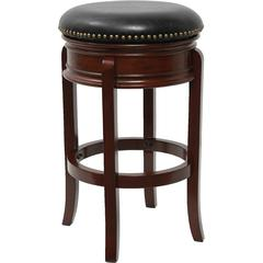 29'' High Backless Cherry Wood Barstool with Black Leather Swivel Seat