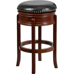 29'' High Backless Light Cherry Wood Barstool with Black Leather Swivel Seat