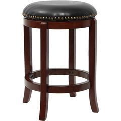 24'' Backless Cherry Wood Counter Height Stool with Black Leather Swivel Seat