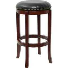 Flash Furniture 29'' High Backless Cherry Wood Barstool with Black Leather Swivel Seat