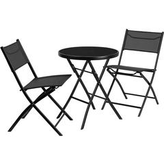 23.75'' Round Tempered Glass Metal Outdoor Table Set with 2 Textilene Fabric Folding Chairs