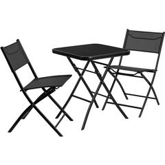 23.75'' Square Tempered Glass Metal Outdoor Table Set with 2 Textilene Fabric Folding Chairs