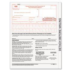 TOPS 1096 IRS Approved Tax Forms, 8 x 11, 50 Forms, 4/Box